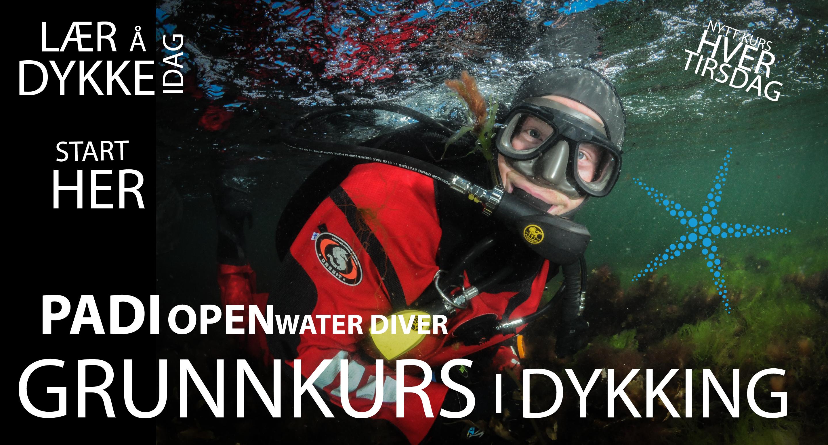 PADI Open Water - Grunnkurs Dykking